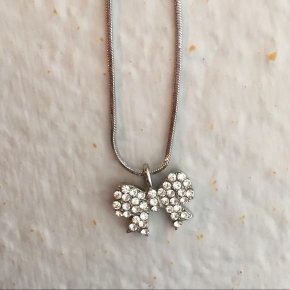 Jewelry Simple Silver Diamond Bow Necklace Poshmark